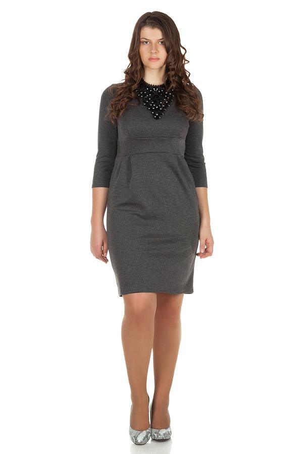 Платье БР Втачной пояс и защипы Серый