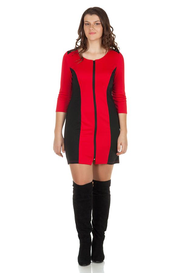 Платье БР С молнией и рельефами Красный
