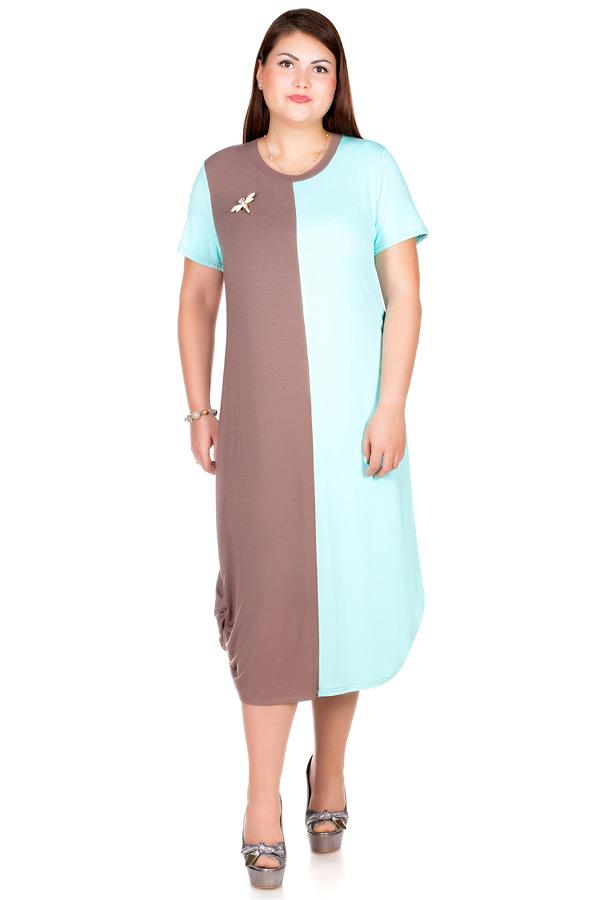 Платье БР Mora Мята+светло-коричневый