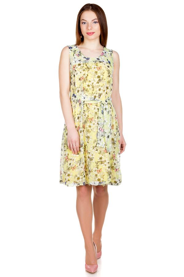 Платье Баллон Принт Бабочки на лимонном