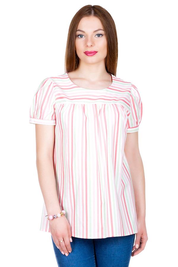 """Блуза с рукавом """"Фонарик"""" Салатовый+Розовый"""
