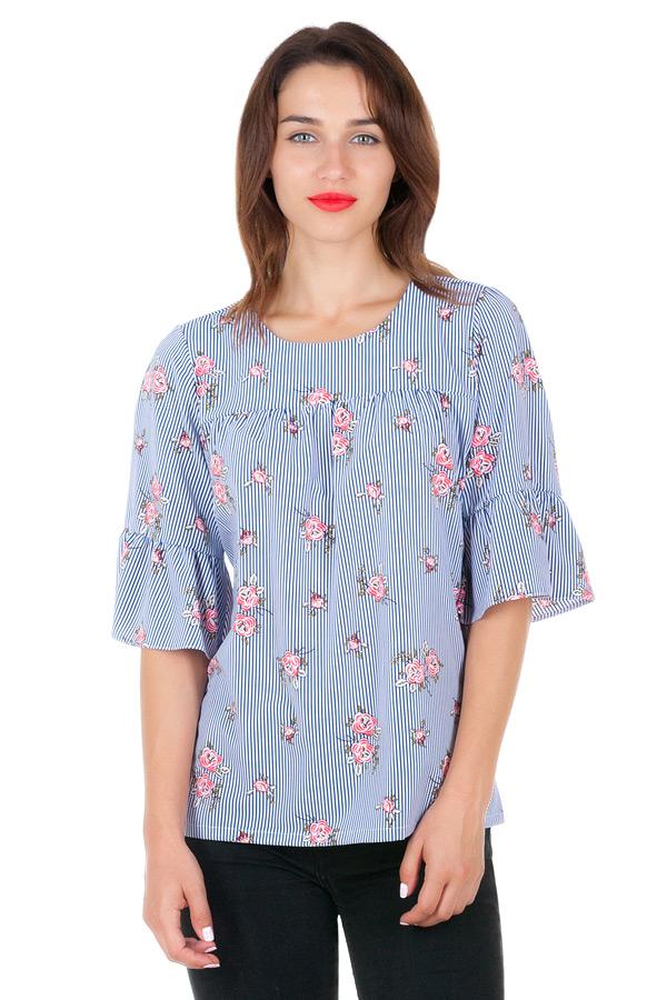 Блуза Mia Синий+цветочки