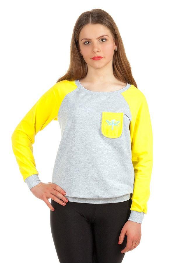 Свитшот Контрастные рукава с кармашком Желтый+стрекоза
