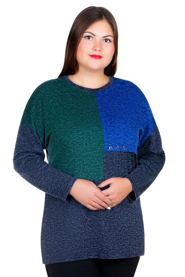 Блузка БР Annalisa Зеленый+Темно-синий