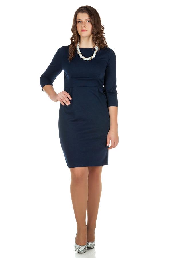 Платье БР Втачной пояс и защипы Темно-синий