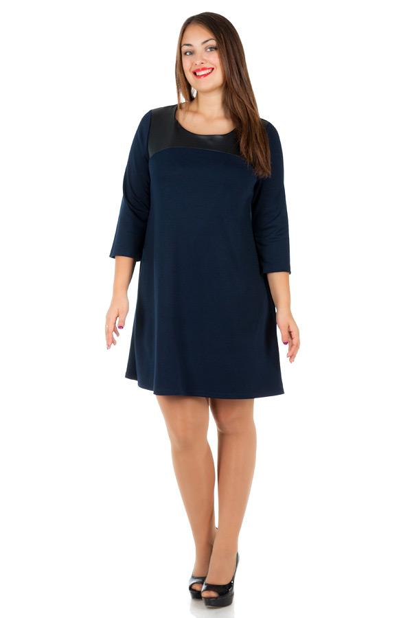 Платье БР С кожаной кокеткой Темно-синий