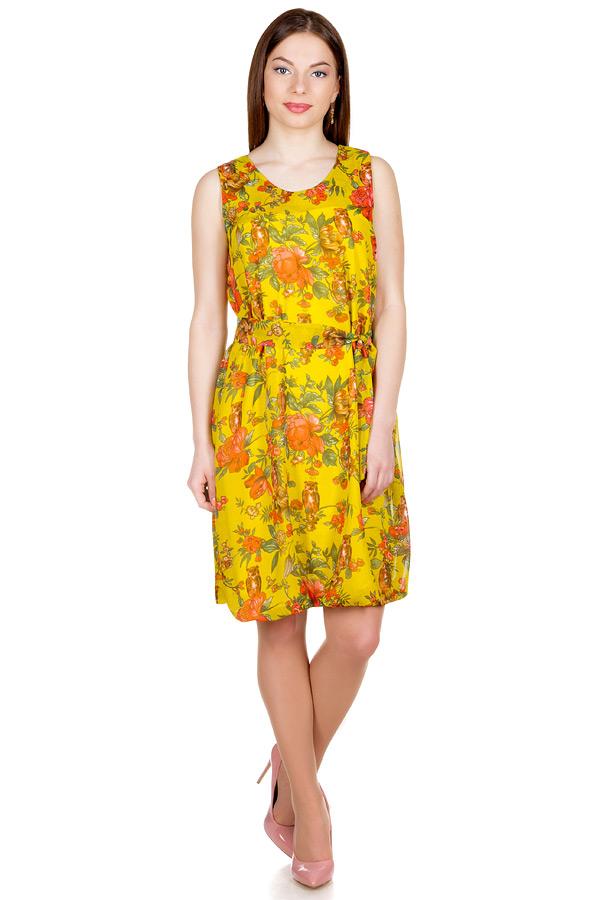 Платье Баллон Принт Совы на желтом