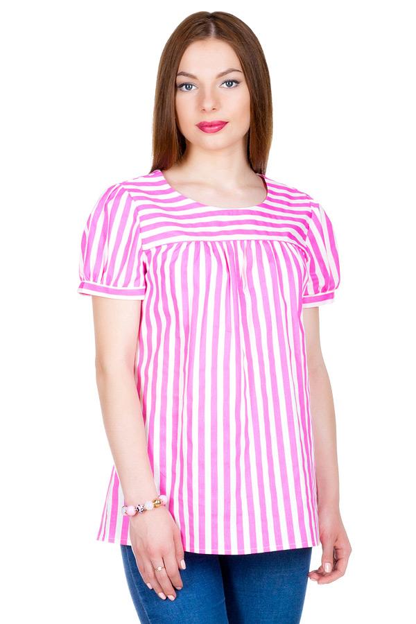 """Блуза с рукавом """"Фонарик"""" Розовый+Белый"""