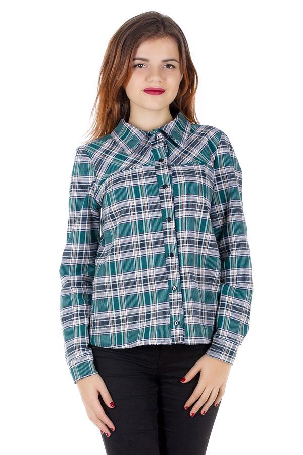Рубашка Утепленная с кокеткой по косой Зеленый+черный