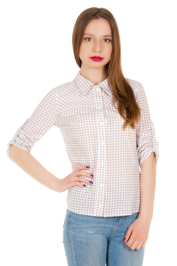 Рубашка С патой на рукаве Бежевая клетка