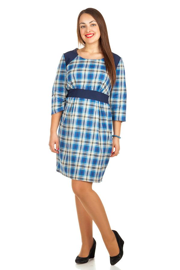Платье БР С контрастной кокеткой Голубой