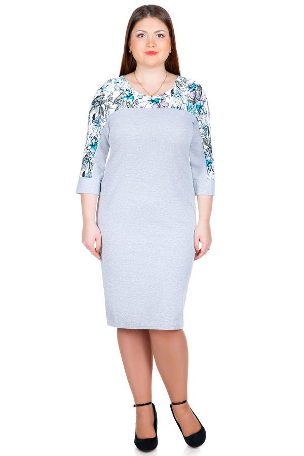 Платье БР Футер+Масло Серый+Тропик