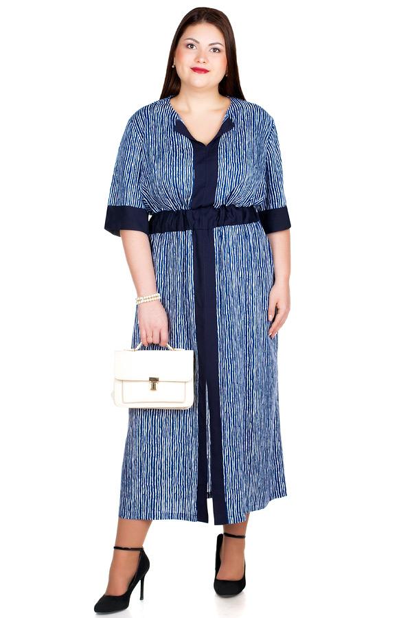 Платье БР Dinara Темно-синий+Белый
