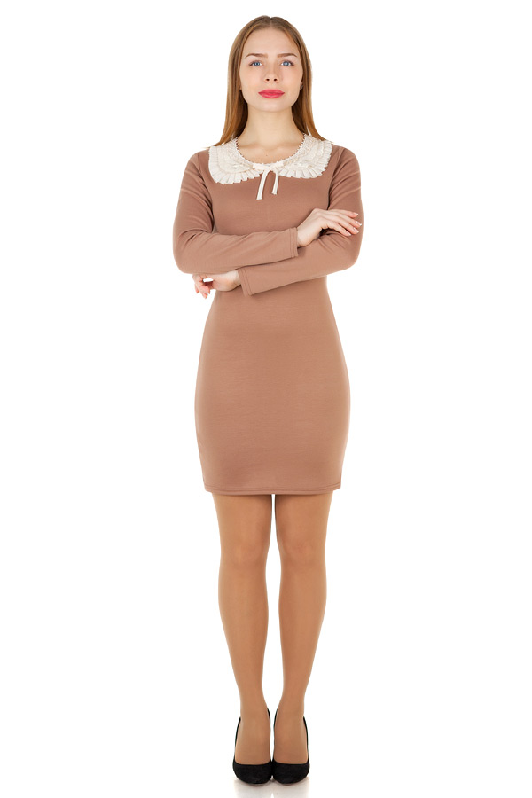 Платье Футляр с кружевным воротником Светло-коричневый