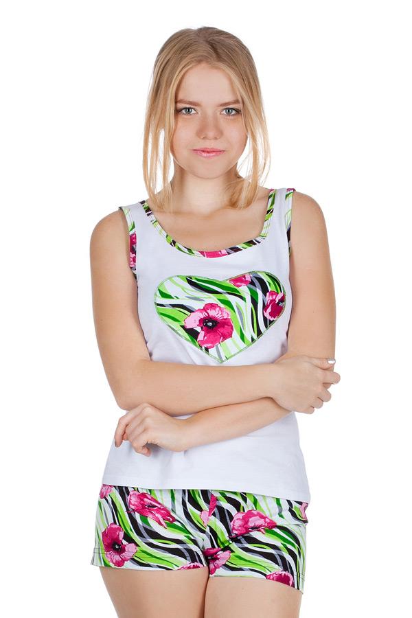Комплект с шортами Белый+Розовые цветы