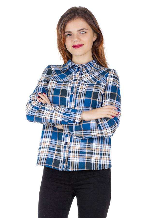 Рубашка Утепленная с кокеткой по косой Голубой+бежевый
