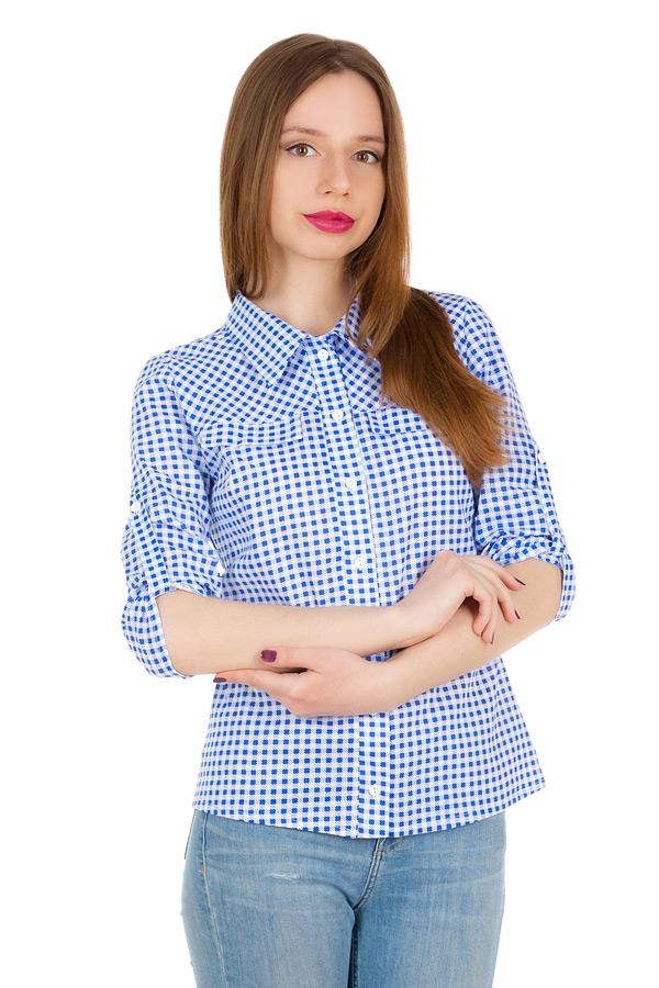 Рубашка С патой на рукаве Синяя клетка