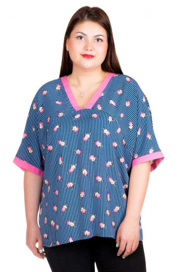 Блуза БР Milda Синий+розовый