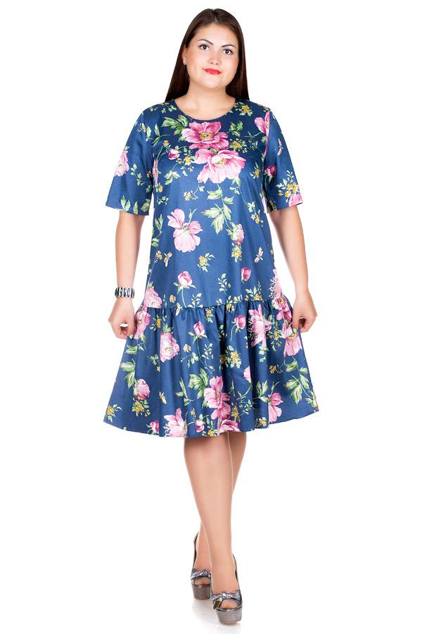 Платье БР Gabriella Пионы на синем