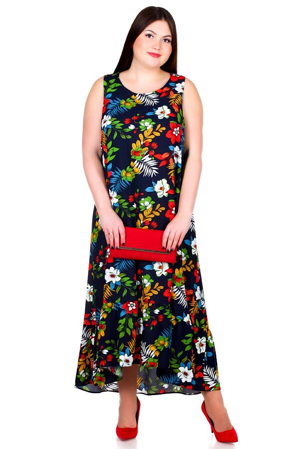 Платье БР Larson Маки на темно-синем