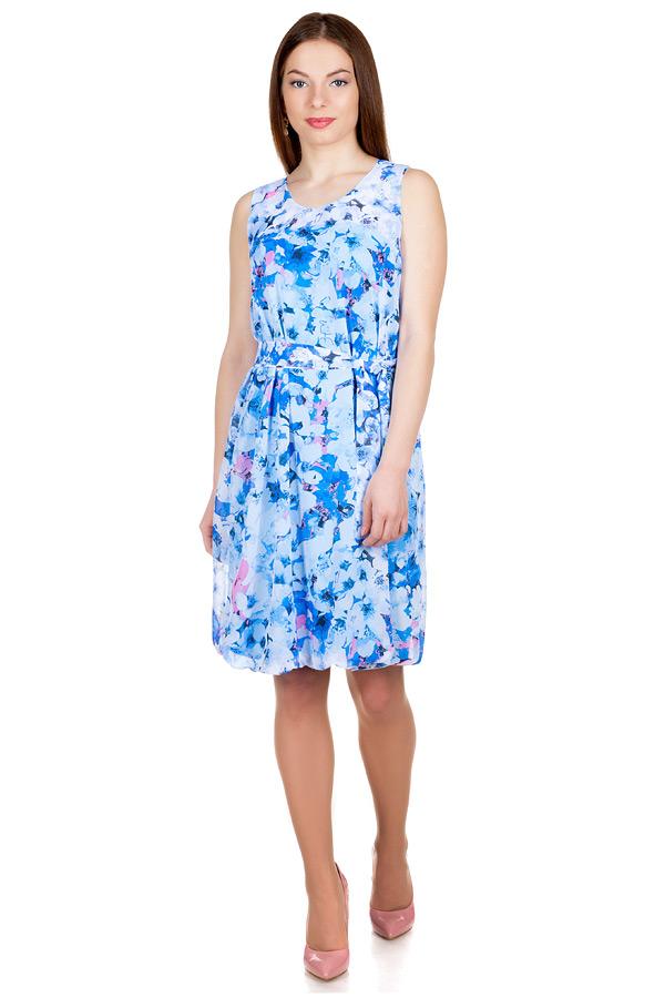 Платье Баллон Принт Цветы на голубом