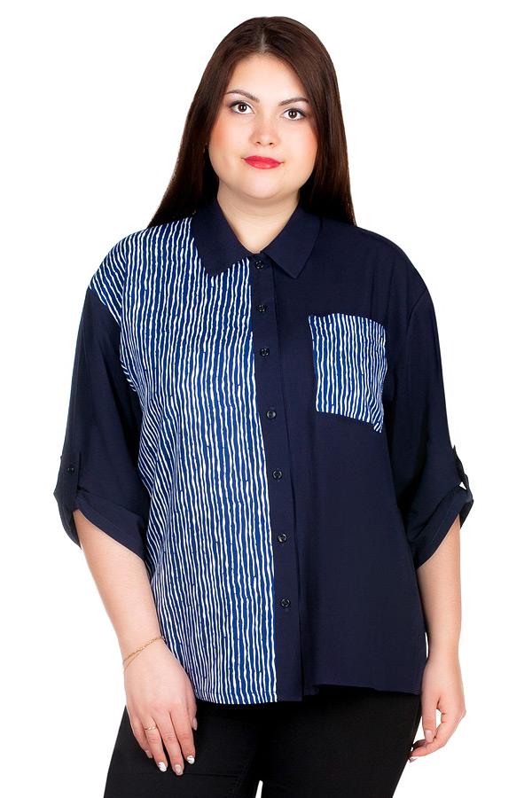 Рубашка БР Pat Темно-синий+Белый