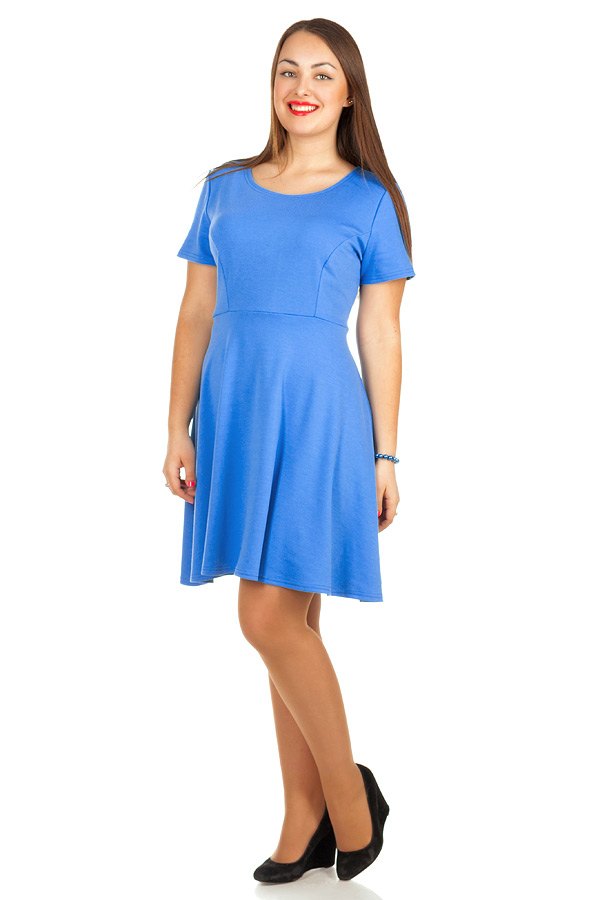 Платье БР Офис короткий рукав Голубой
