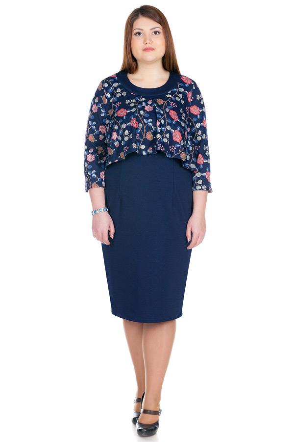 Платье БР Sherry Розы+Темно-синий