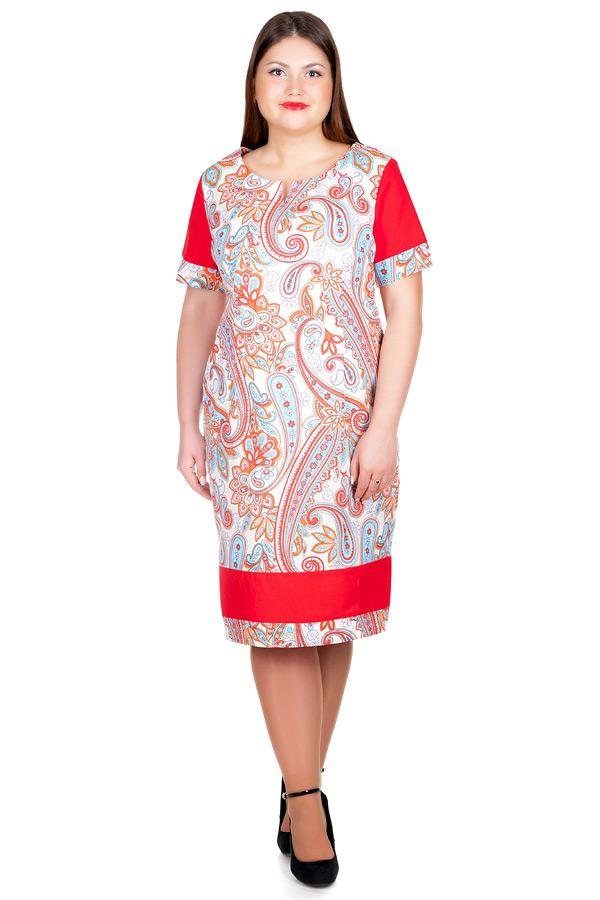 Платье БР Бязь с контрастными вставками Красный