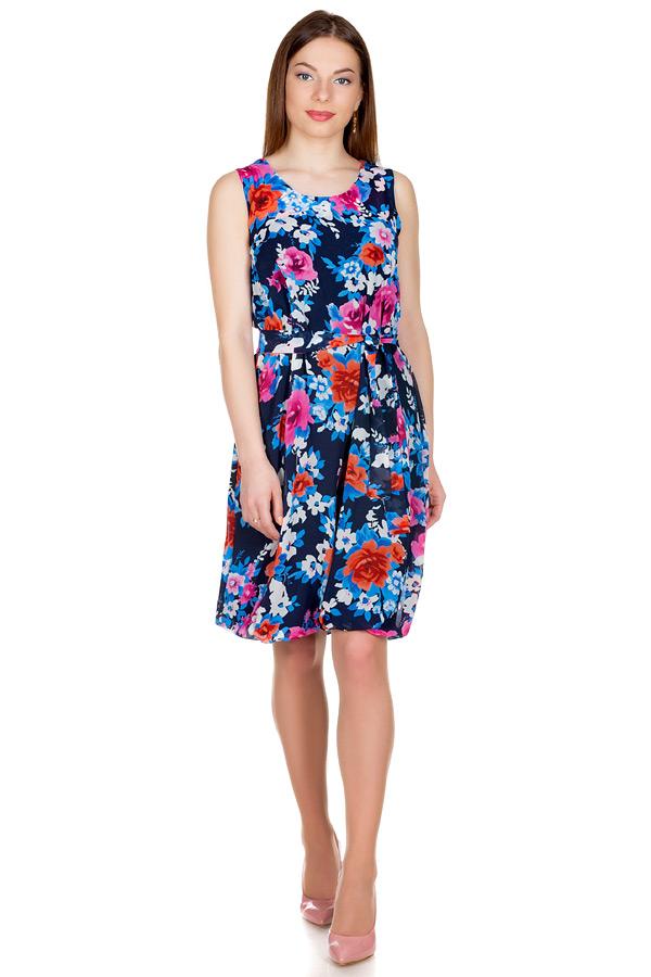 Платье Баллон Принт Розы на синем