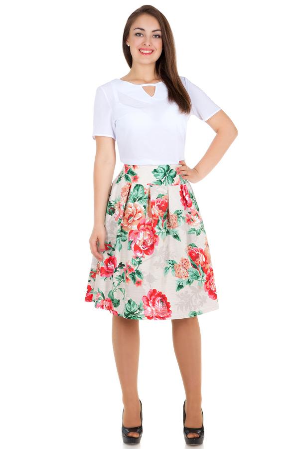 Юбка В складку Розы коралловые