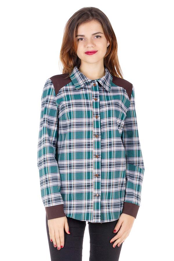Рубашка Утепленная с контрастной отделкой Зеленый+коричневый
