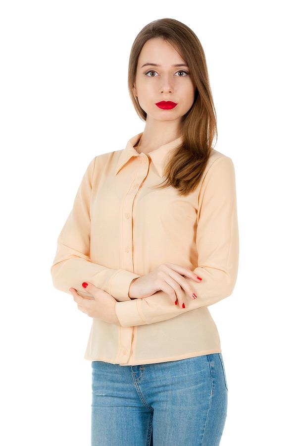 Рубашка длинный рукав Однотон Бежевый