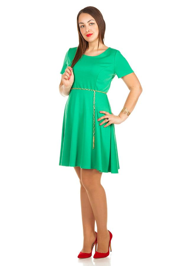Платье БР Офис короткий рукав Ярко-зеленый