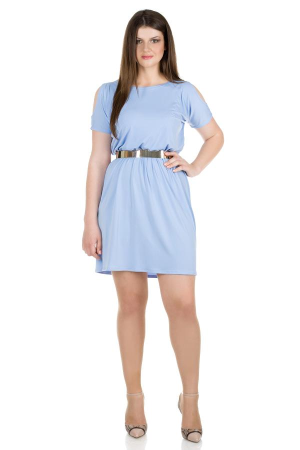 Платье БР С открытыми плечами Светло-голубой