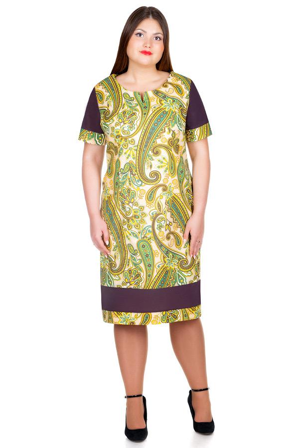 Платье БР Бязь с контрастными вставками Коричневый