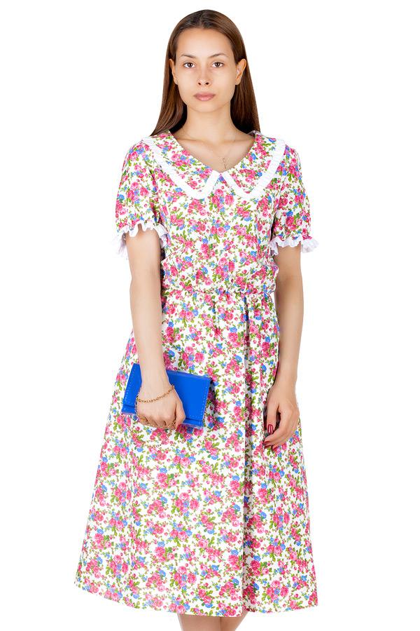 Платье МР Ulla Цветы фуксия на белом