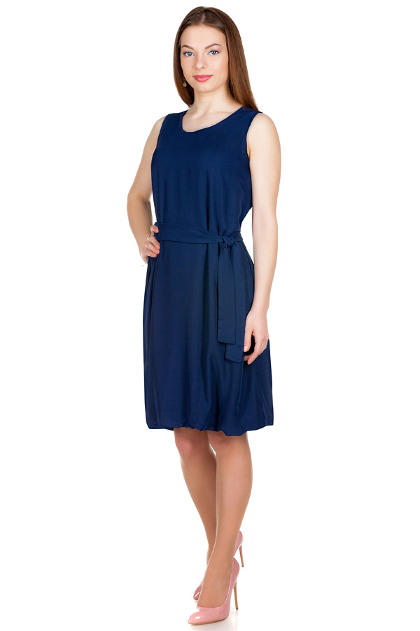 Платье Баллон Однотон Темно-синий