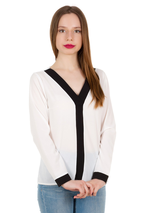 Блуза с контрастной планкой Белый+Черный