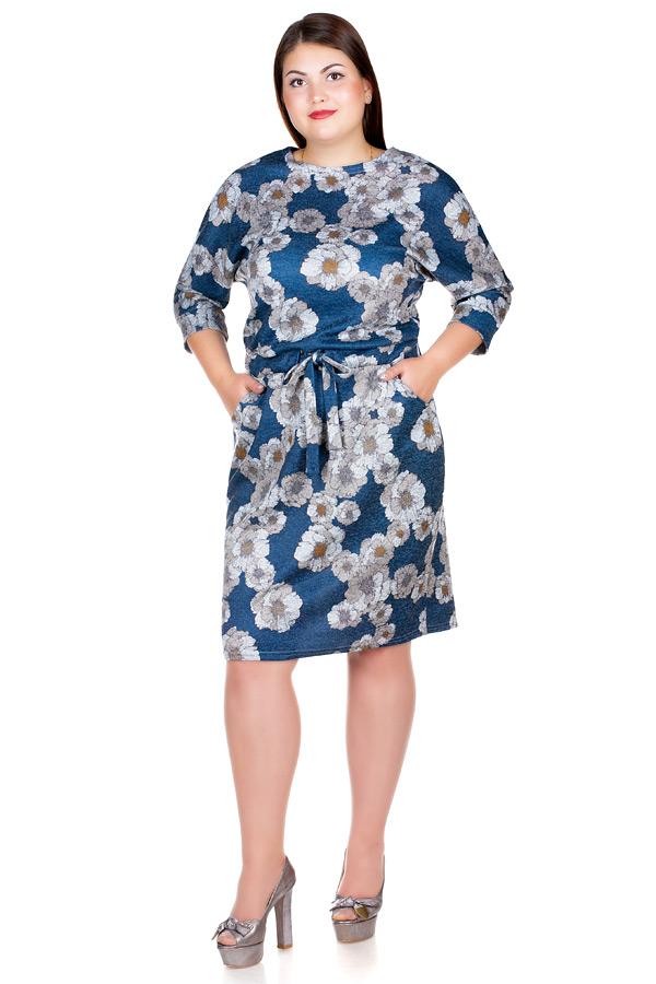 Платье БР Nelly Принт Цветы на синем
