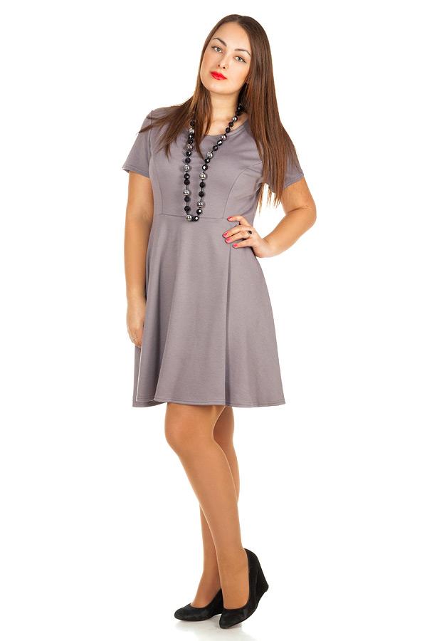 Платье БР Офис короткий рукав Серый