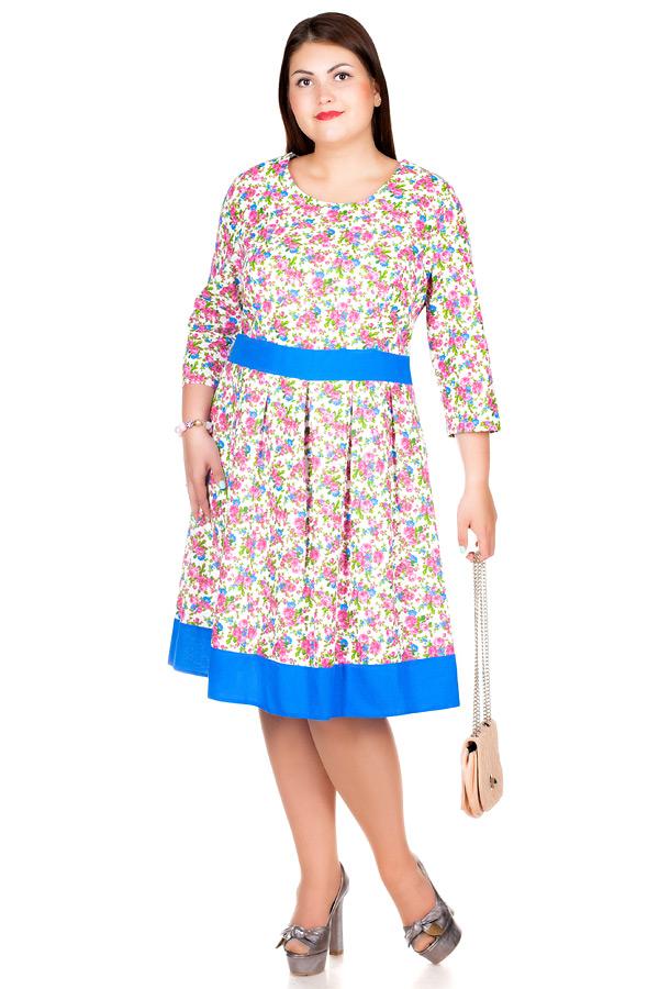 Платье БР Лен втачной пояс с окантовкой1 Цветы розовые