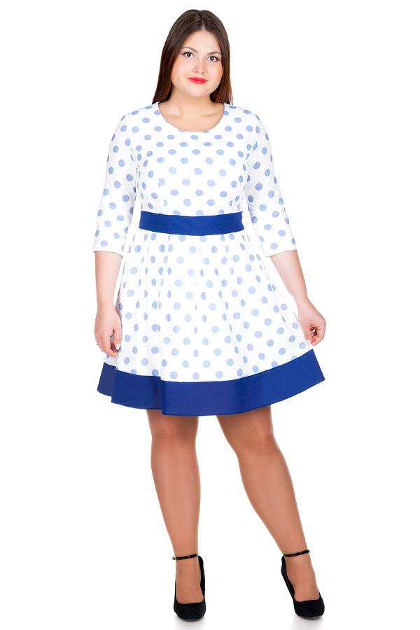 Платье БР Лен втачной пояс с окантовкой Горох