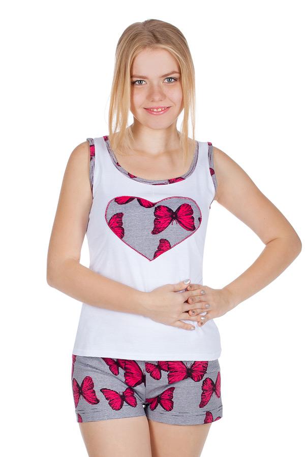 Комплект с шортами Белый+Малиновые бабочки