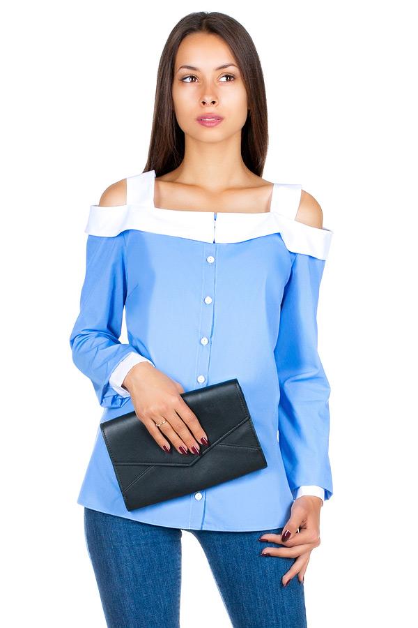 Блуза МР Novella Голубой+белый
