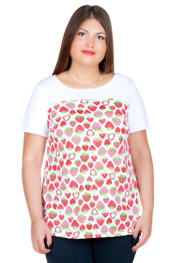 Блуза БР Senta Белый+Клубнички