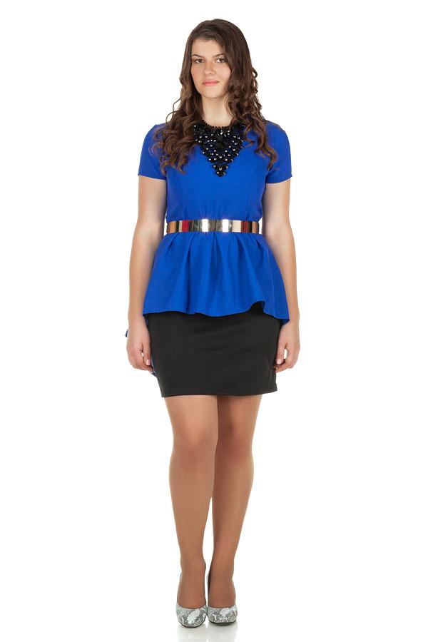 Платье БР Со шлейфом и складками Синий