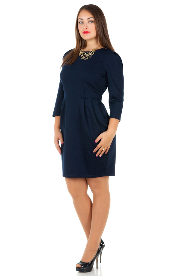 Платье БР С карманами Однотон Темно-синий