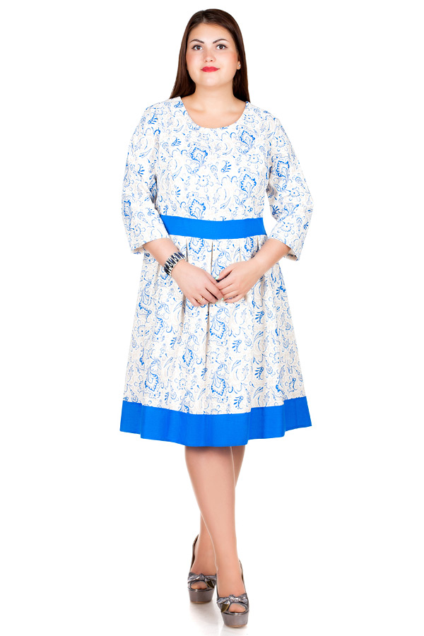 Платье БР Лен втачной пояс с окантовкой1 Огурцы синие
