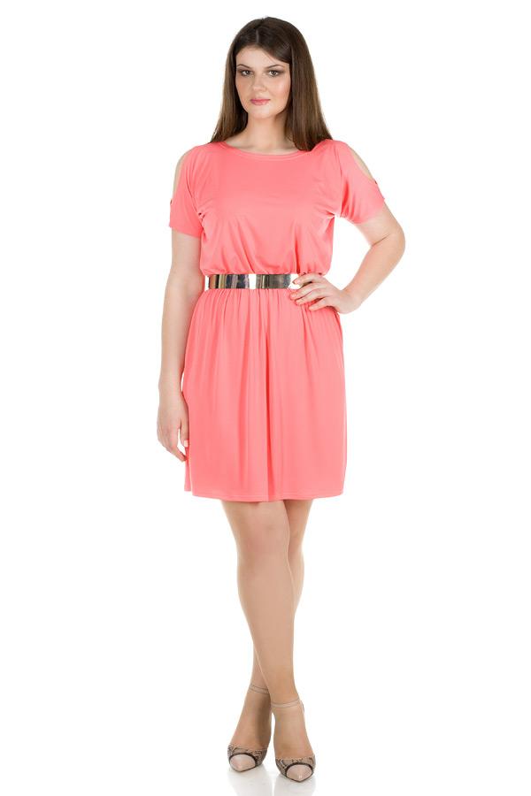 Платье БР С открытыми плечами Коралл
